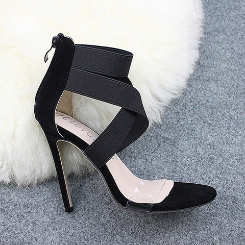 Womens Cross Tied Transparent Party Pump Shoes