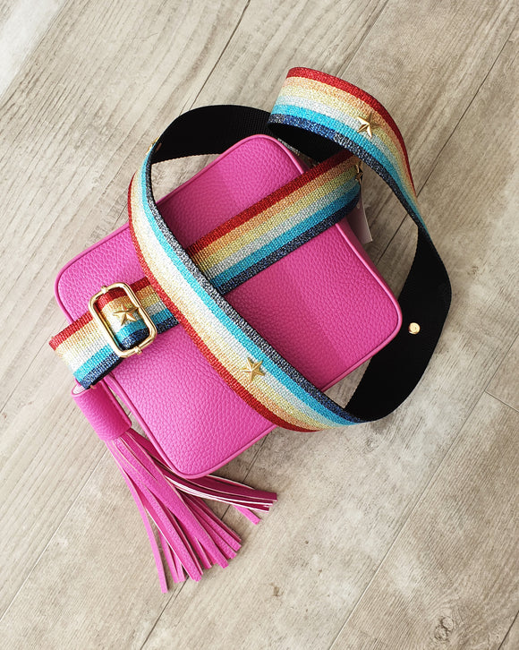 Anna - Fuscia Box Bag - Pattern Strap