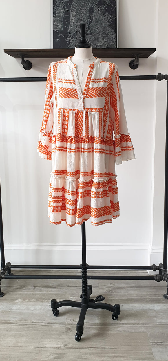 Talia Embroidered Cotton Knee Length Dress - ORANGE