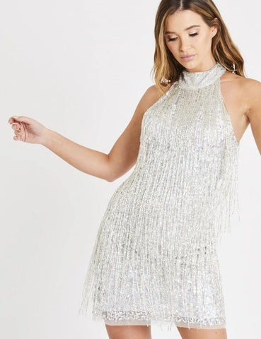 Nadia Silver Beaded Mini Dress with tassels