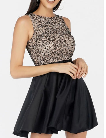 radomira sequin satin skater dress