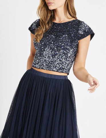 mermaid navy and silver sequin top with capped sleeves