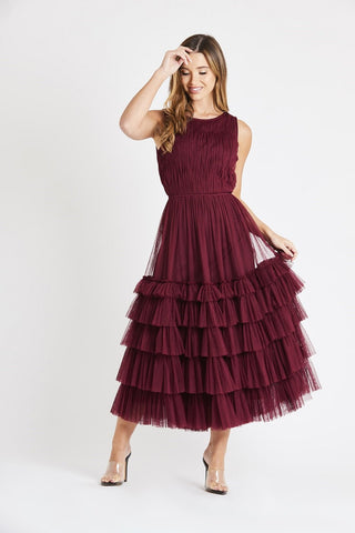Mel Burgundy Modern Bridesmaid Dress