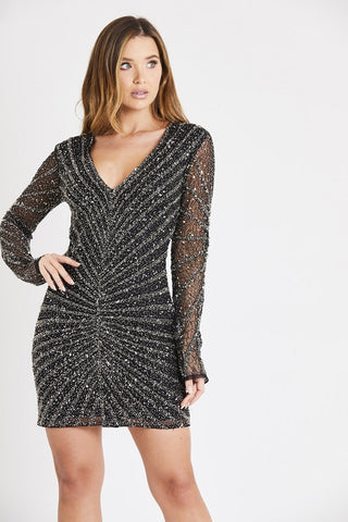 whitney black beaded long sleeve mini dress with v neckline