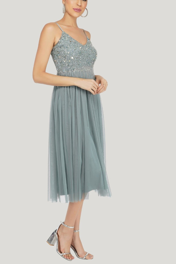 Riri Embellished Midi Dress in Teal