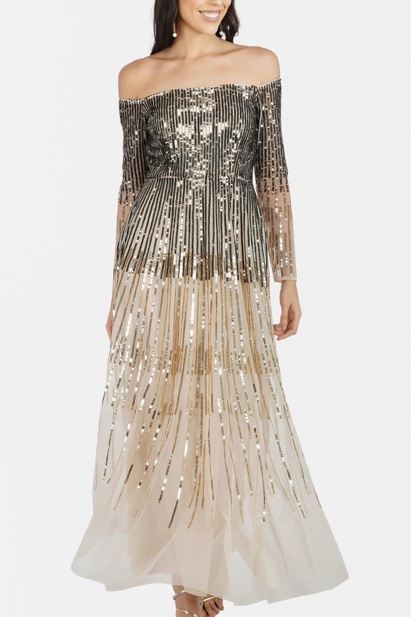 Miley Sequin Maxi in Gold