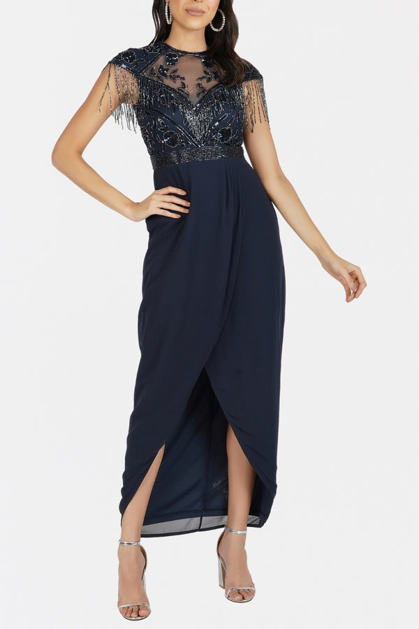 Savanna Wrap Maxi in Navy