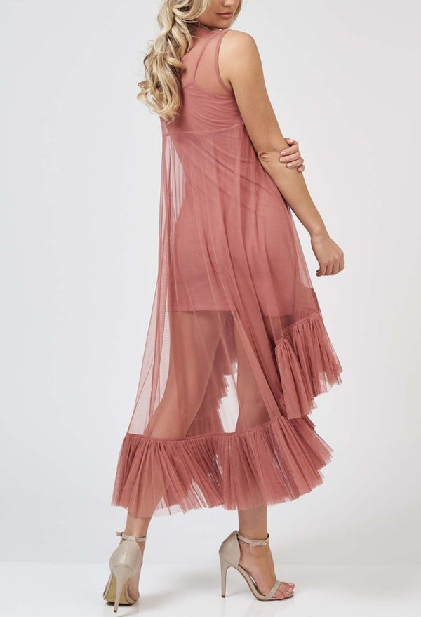 Flamingo Tulle Dress in Dusty Pink