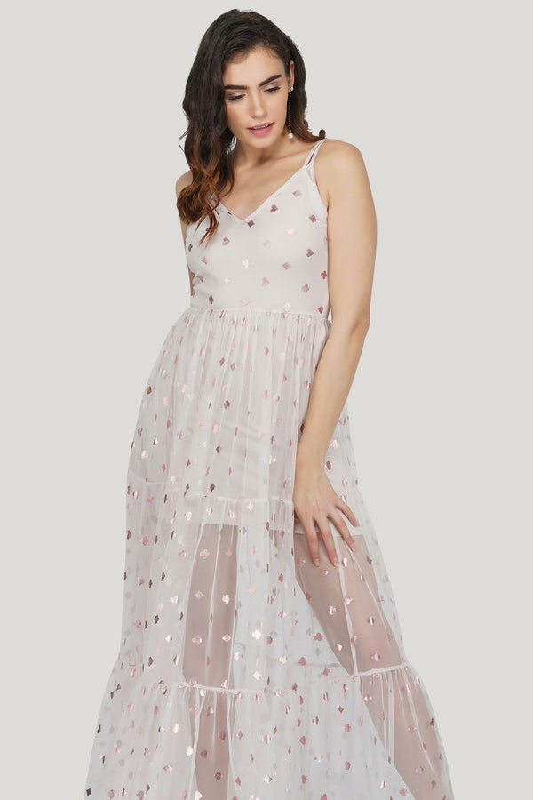 Poppy Mesh Midi Dress in Pink