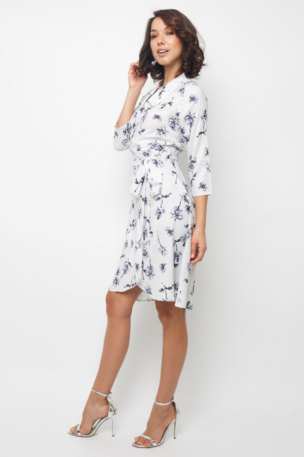 Corella Printed Wrap Dress