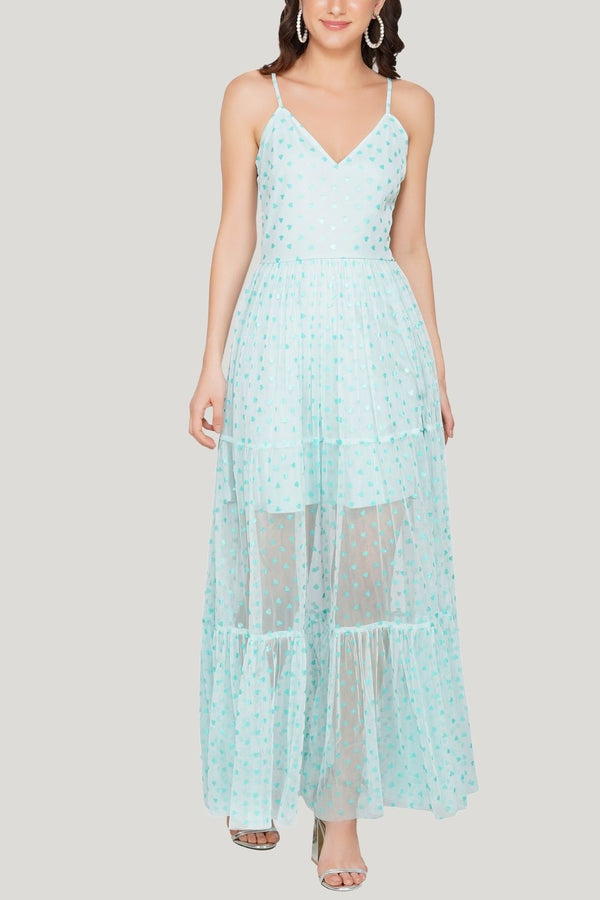 Poppy Mesh Midi Dress in Mint