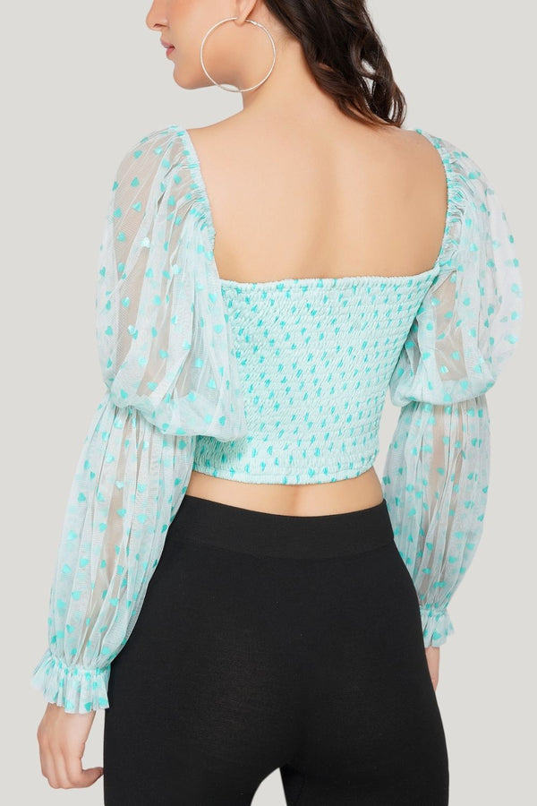 Lyla Tulle Top in Mint Heart Print