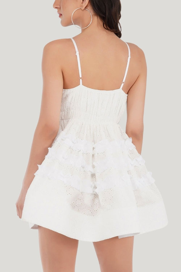 Bethan Cotton Lace Mini in White