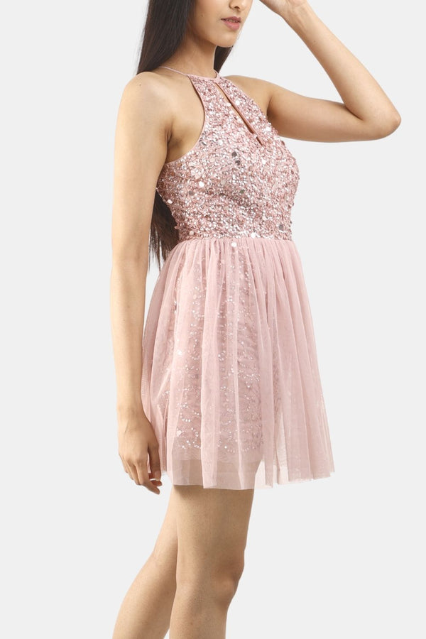 Lina Pink Bridesmaid Skater Dress