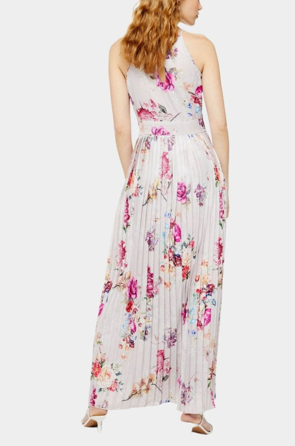 Reya Floral Pleated Maxi in Pink Print