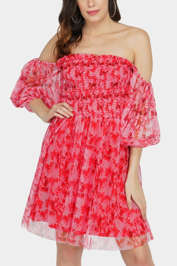 Calli Tulle Printed Dress in Red Print