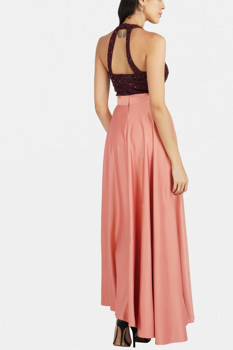 Serenity Embellished Contrast Maxi  in Burgundy Coral