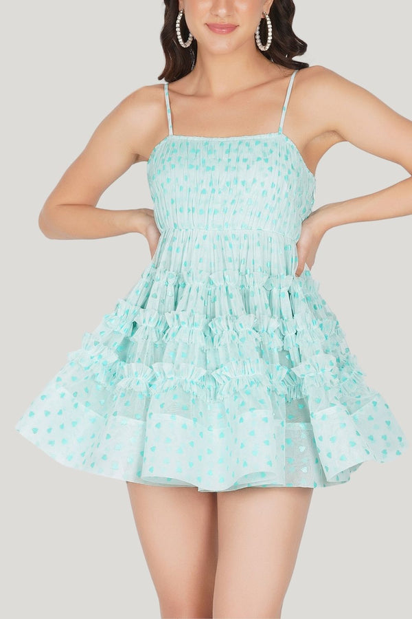 Bethan Tulle Mini in Mint Heart Print