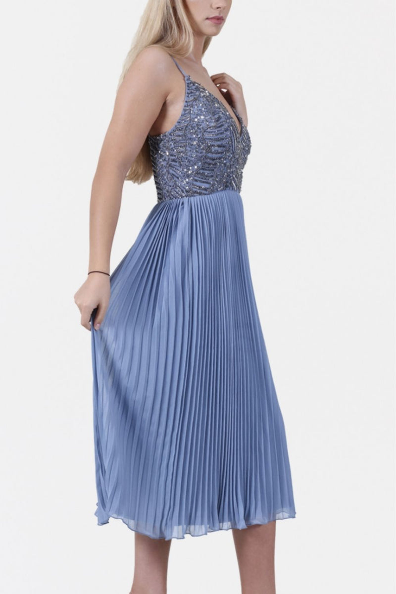 Samantha Beaded Pleated Midi Dress in Blue