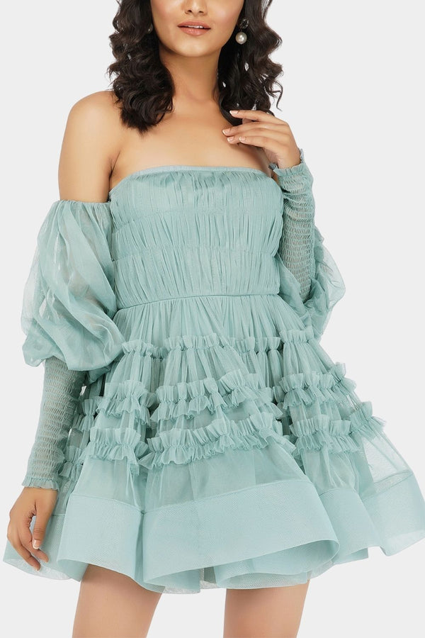 River Tulle Dress in Teal