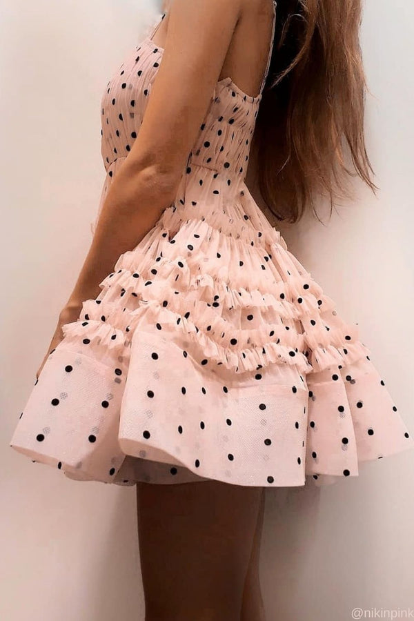 Bethan Polka Tulle Mini in Pink/Black