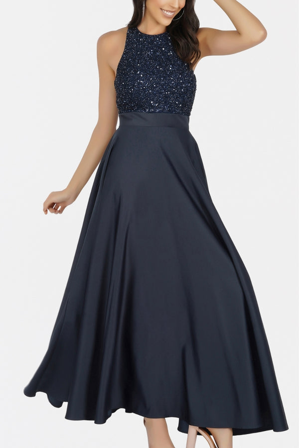 Serenity Embellished Satin Maxi in Navy