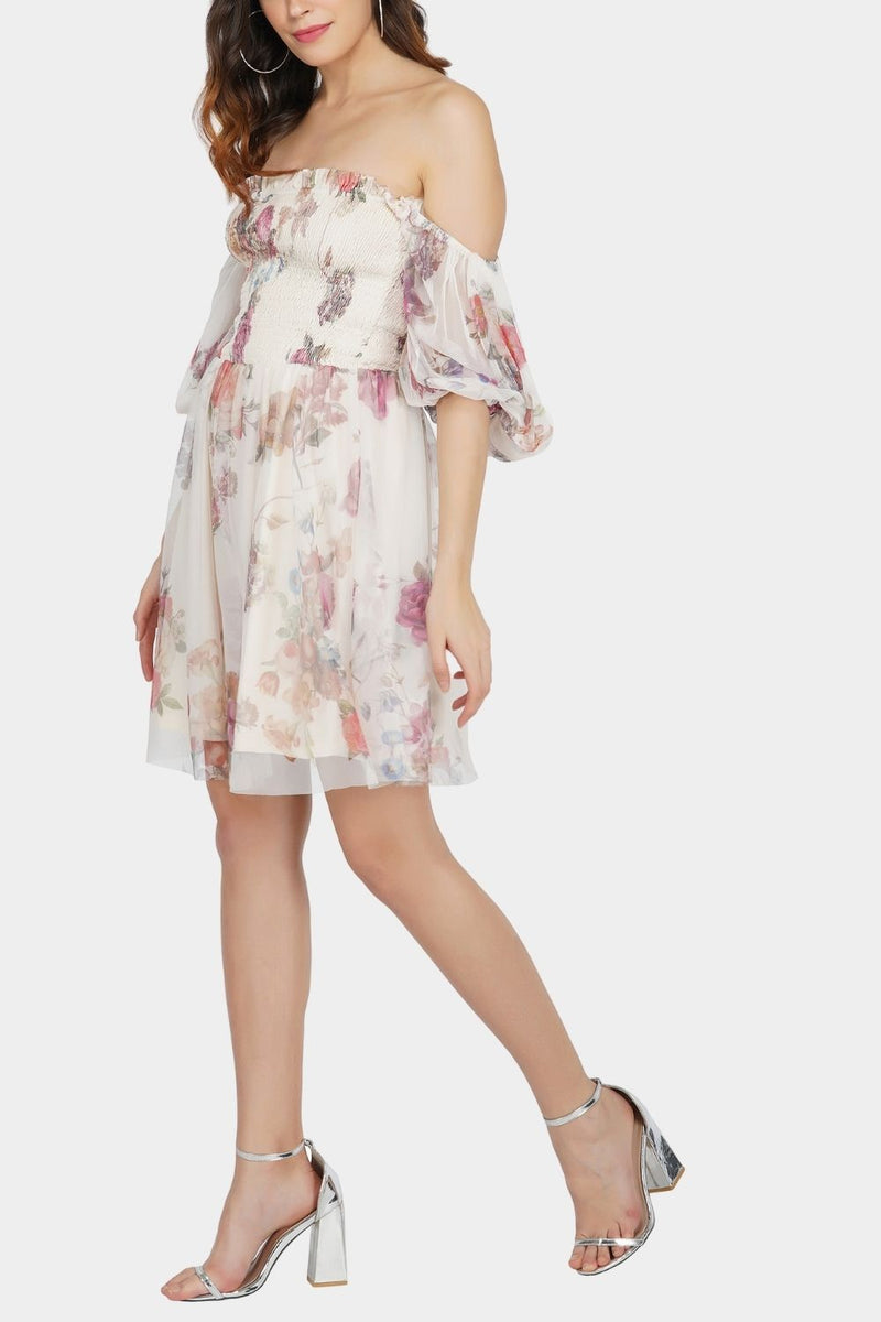Calli Tulle Floral Printed Dress in Cream