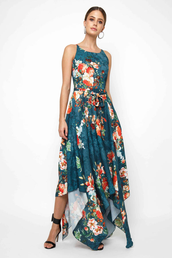Cosmos Green Printed Dress