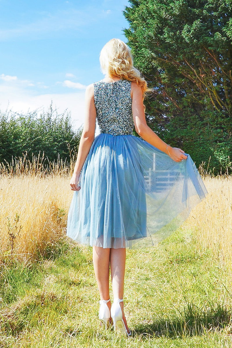 Val Tulle Midi Skirt in Teal