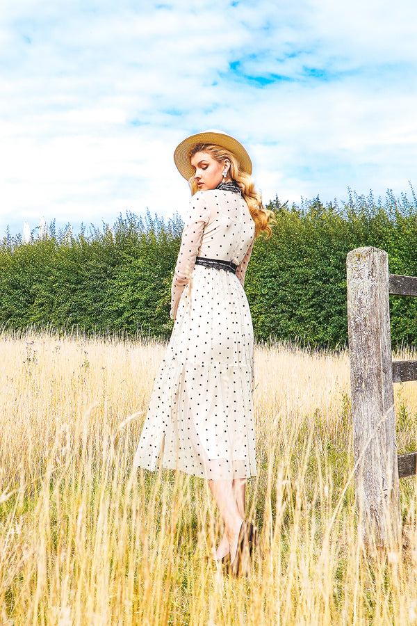 Roman Lola Polka Dot Midi Dress in Cream
