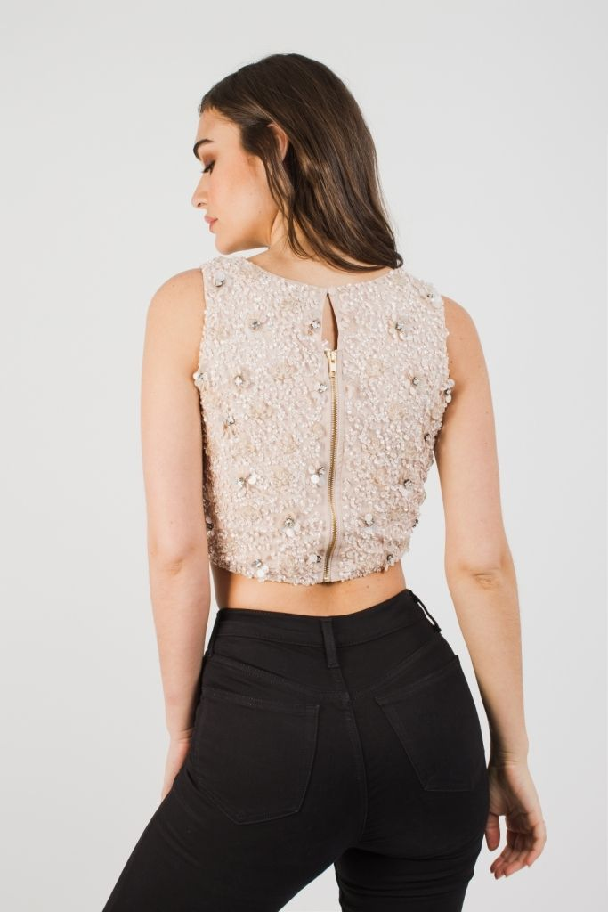 Gracie Beaded Top in Nude