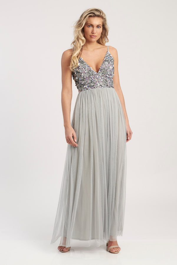 Avondale Embellished Maxi in Grey