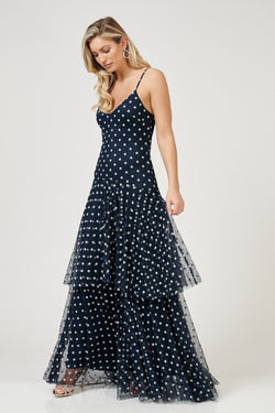 Dinia Polka Mesh Maxi in Navy