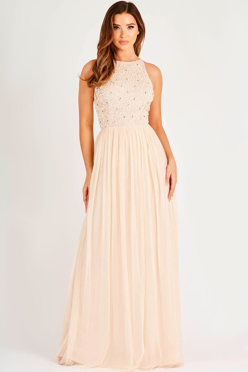 Kahlo Picasso Blush Bridesmaid Maxi Dress