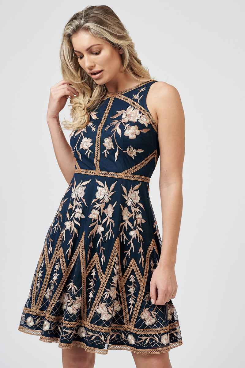 Reva Embroidered Dress in Navy