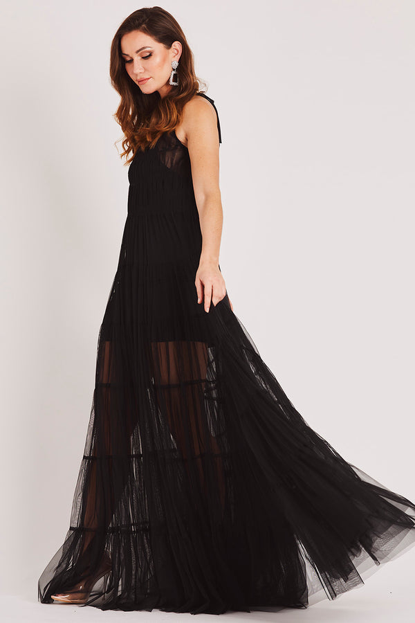 Evelyn Mesh Maxi in Black