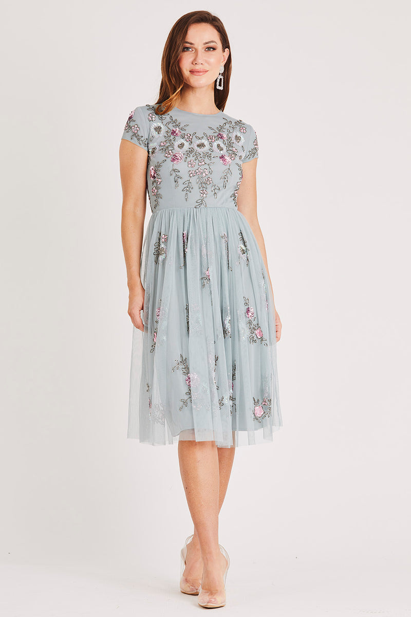 Nobu Embellished Skater Midi Dress in Teal