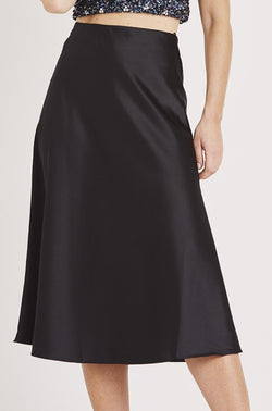 Sophie Satin Skirt in Black