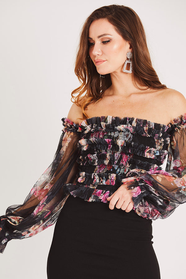 Rolf Top in Black Floral