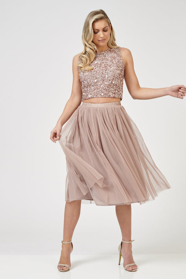 Val Tulle Midi Skirt in Mink