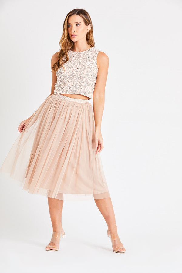 Val Tulle Midi Skirt in Nude