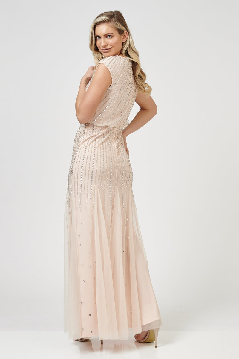 Maje Beaded Bridesmaid Maxi in Blush