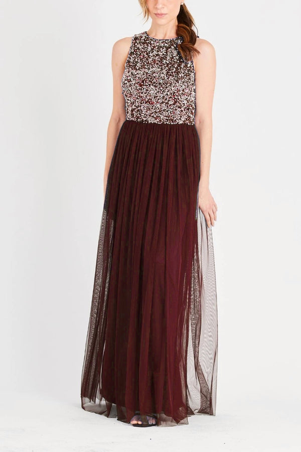Picasso Bridesmaid Maxi in Burgundy Silver