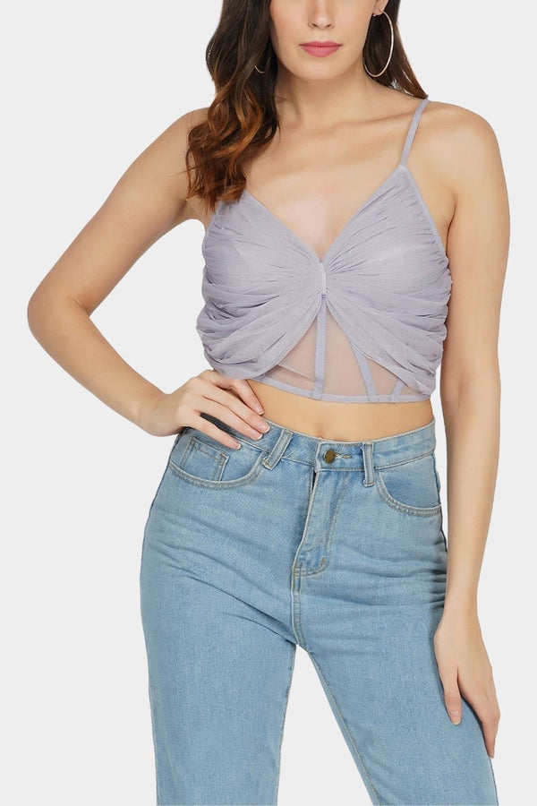 Olivia Bow Mesh Top in Lilac