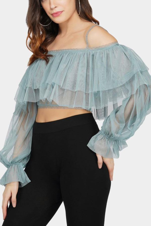 Perch Tulle Top in Teal