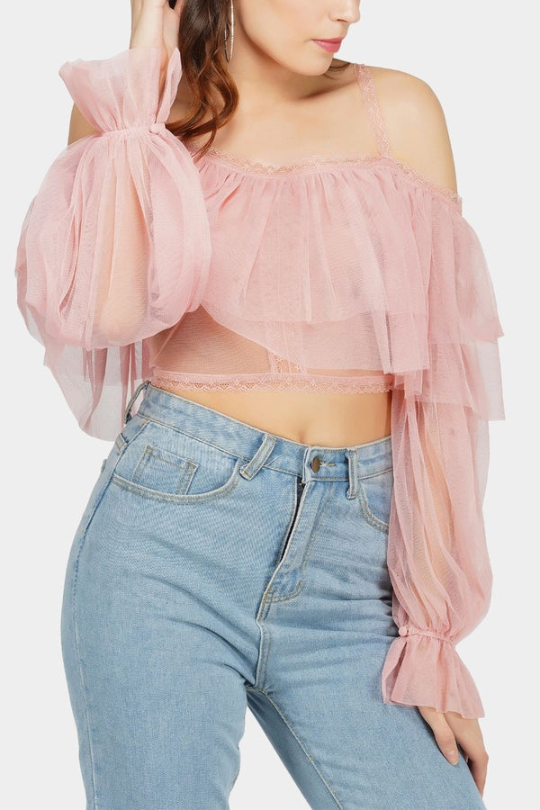 Perch Tulle Top in Pink