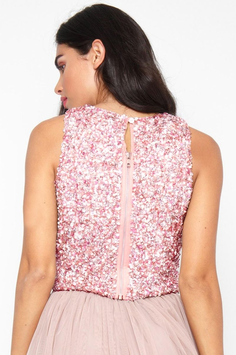 Picasso Beaded Top in Pink