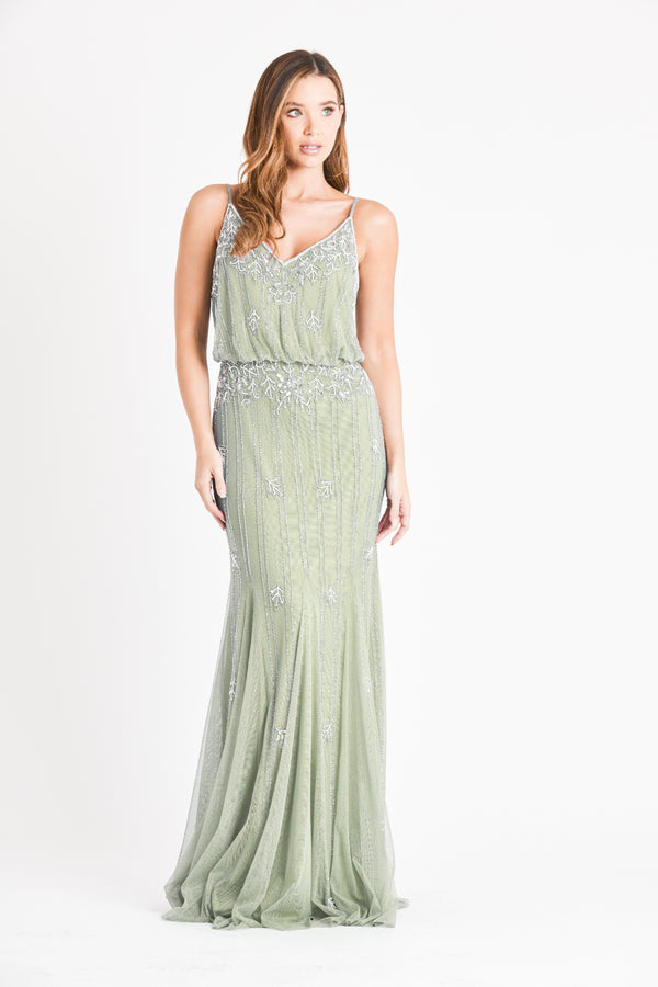 Keeva Sage Bridesmaid Maxi Dress