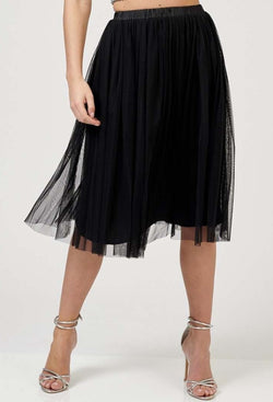 Val Tulle Midi Skirt in Black