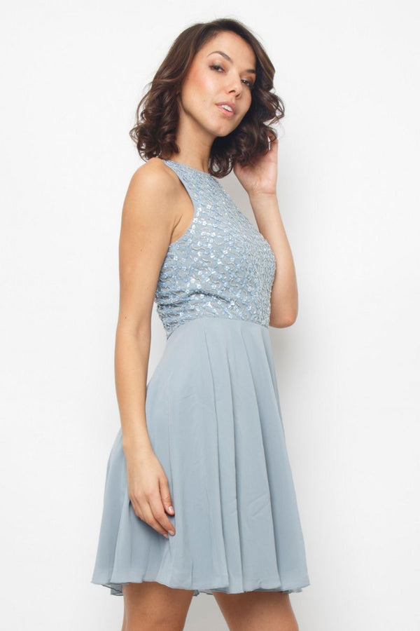 Junko Embellished Skater Dress in Blue